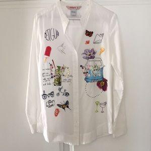 Desigual white button down shirt. Sz M